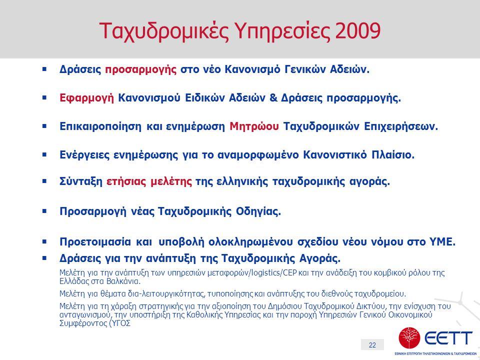 22 Ταχυδρομικές Υπηρεσίες 2009  Δράσεις προσαρμογής στο νέο Κανονισμό Γενικών Αδειών.