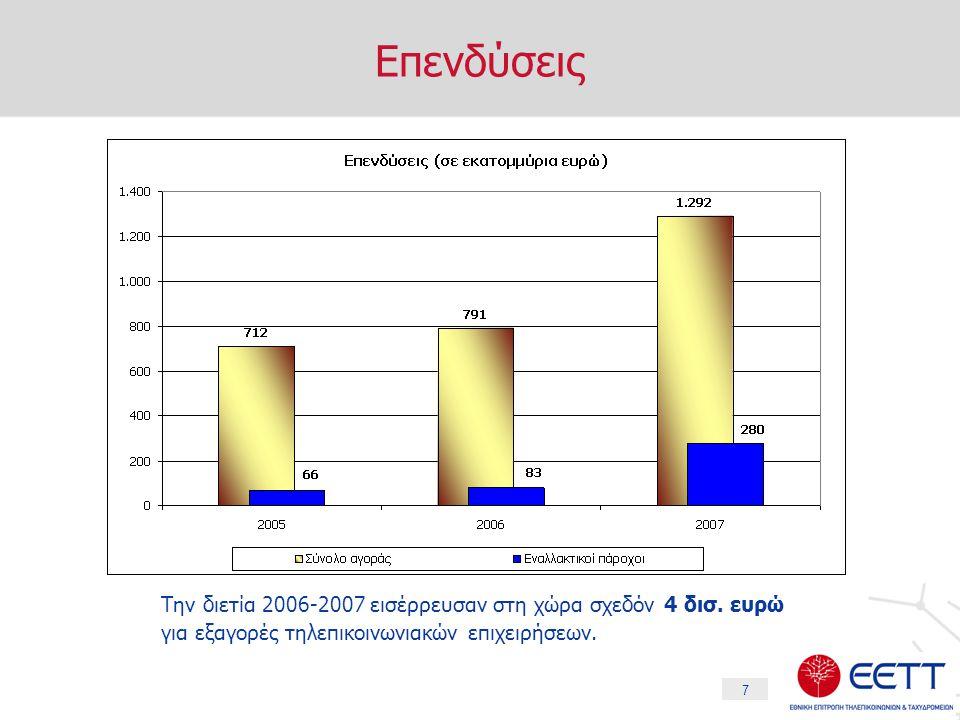 7 Επενδύσεις Την διετία 2006-2007 εισέρρευσαν στη χώρα σχεδόν 4 δισ.