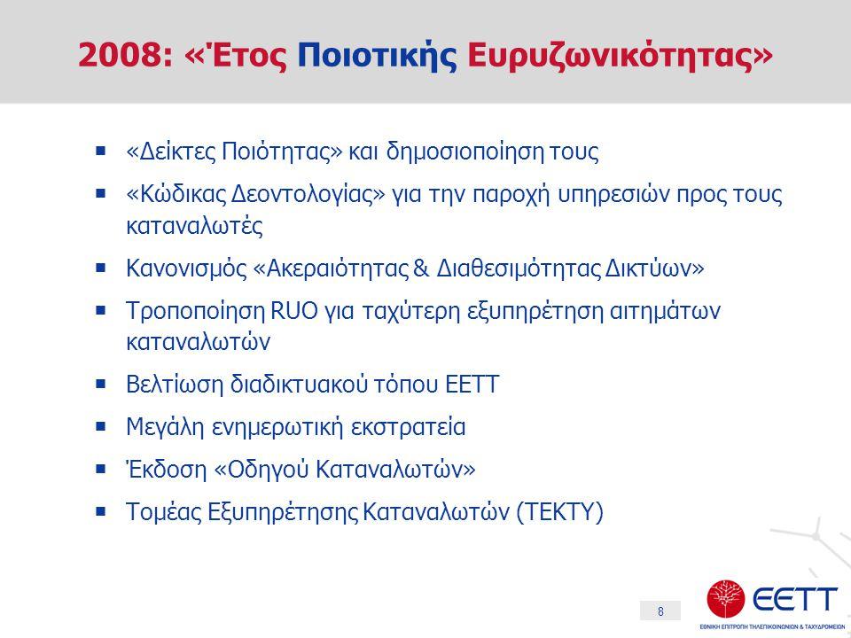 8 2008: «Έτος Ποιοτικής Ευρυζωνικότητας»  «Δείκτες Ποιότητας» και δημοσιοποίηση τους  «Κώδικας Δεοντολογίας» για την παροχή υπηρεσιών προς τους καταναλωτές  Κανονισμός «Ακεραιότητας & Διαθεσιμότητας Δικτύων»  Τροποποίηση RUO για ταχύτερη εξυπηρέτηση αιτημάτων καταναλωτών  Βελτίωση διαδικτυακού τόπου ΕΕΤΤ  Μεγάλη ενημερωτική εκστρατεία  Έκδοση «Οδηγού Καταναλωτών»  Τομέας Εξυπηρέτησης Καταναλωτών (ΤΕΚΤΥ)