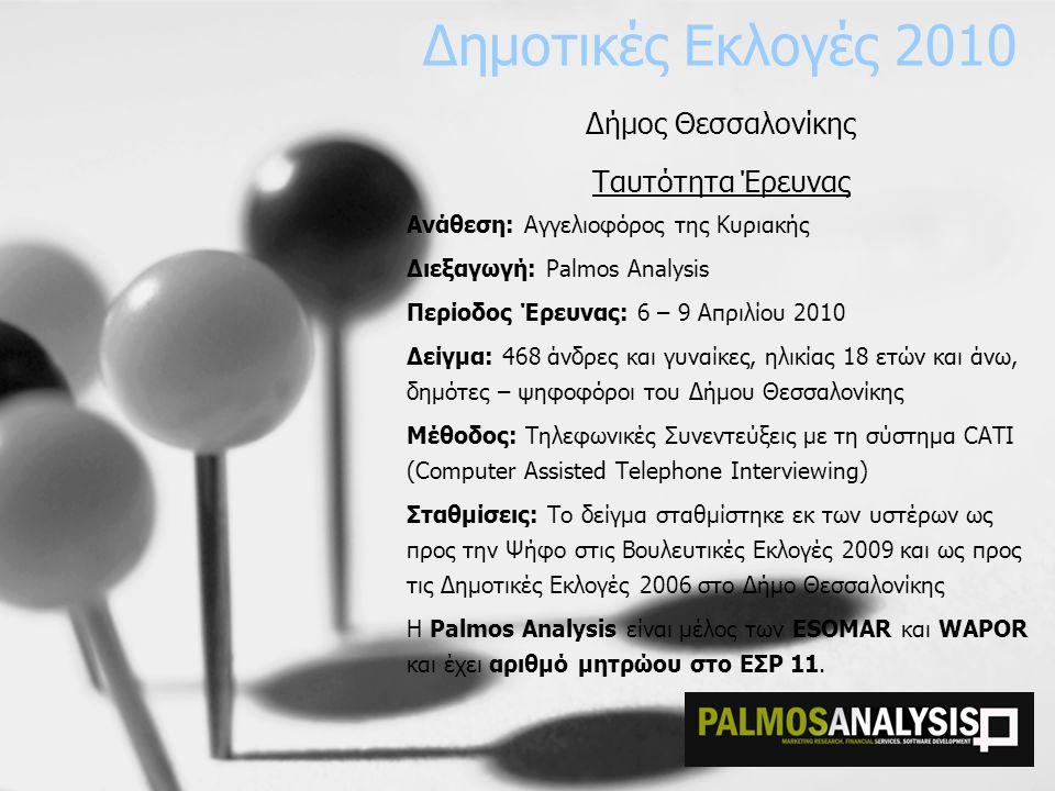 Δημοτικές Εκλογές 2010 Δήμος Θεσσαλονίκης Ταυτότητα Έρευνας Ανάθεση: Αγγελιοφόρος της Κυριακής Διεξαγωγή: Palmos Analysis Περίοδος Έρευνας: 6 – 9 Απρι