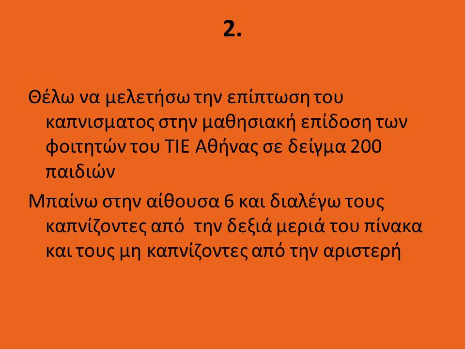 2. Θέλω να μελετήσω την επίπτωση του καπνισματος στην μαθησιακή επίδοση των φοιτητών του ΤΙΕ Αθήνας σε δείγμα 200 παιδιών Μπαίνω στην αίθουσα 6 και δι