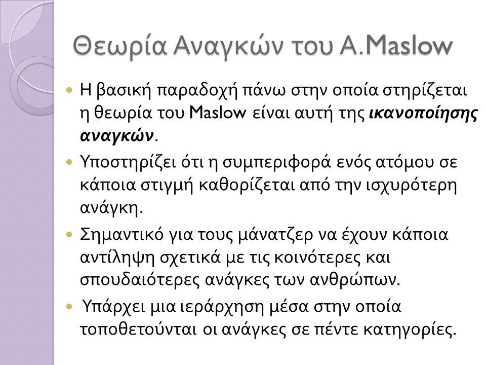 Θεωρία Αναγκών του Α.Maslow Η βασική παραδοχή πάνω στην οποία στηρίζεται η θεωρία του Maslow είναι αυτή της ικανοποίησης αναγκών. Υποστηρίζει ότι η συ