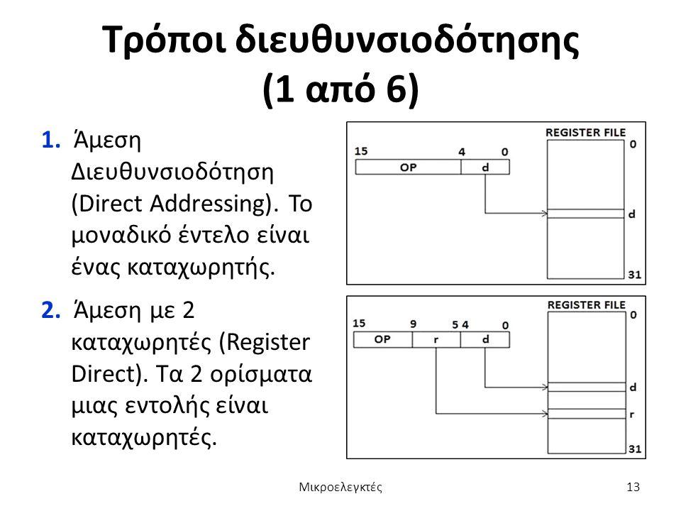 Τρόποι διευθυνσιοδότησης (1 από 6) 1. Άμεση Διευθυνσιοδότηση (Direct Addressing). Το μοναδικό έντελο είναι ένας καταχωρητής. 2. Άμεση με 2 καταχωρητές
