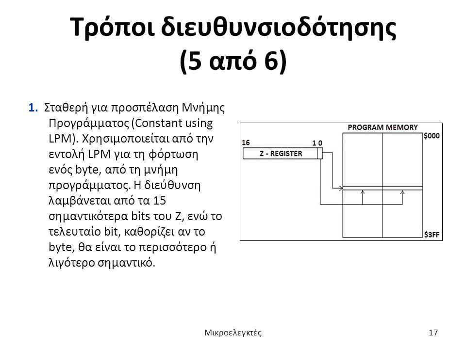 Τρόποι διευθυνσιοδότησης (5 από 6) 1. Σταθερή για προσπέλαση Μνήμης Προγράμματος (Constant using LPM). Χρησιμοποιείται από την εντολή LPM για τη φόρτω