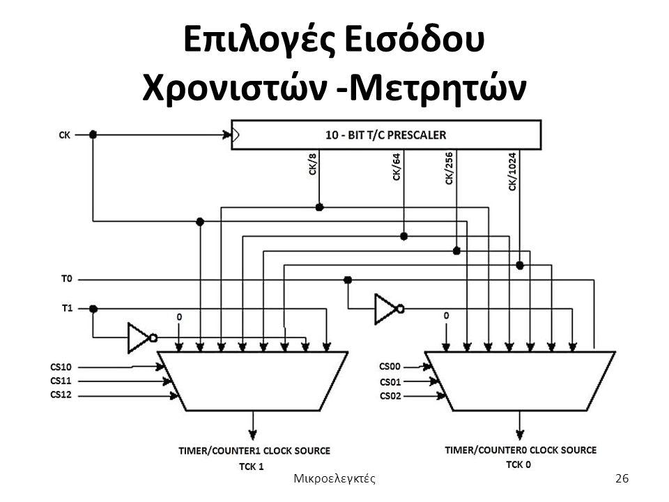 Επιλογές Εισόδου Χρονιστών -Μετρητών Μικροελεγκτές26