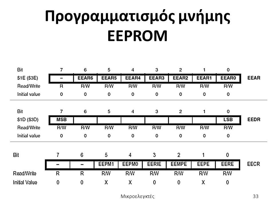 Προγραμματισμός μνήμης EEPROM Μικροελεγκτές33
