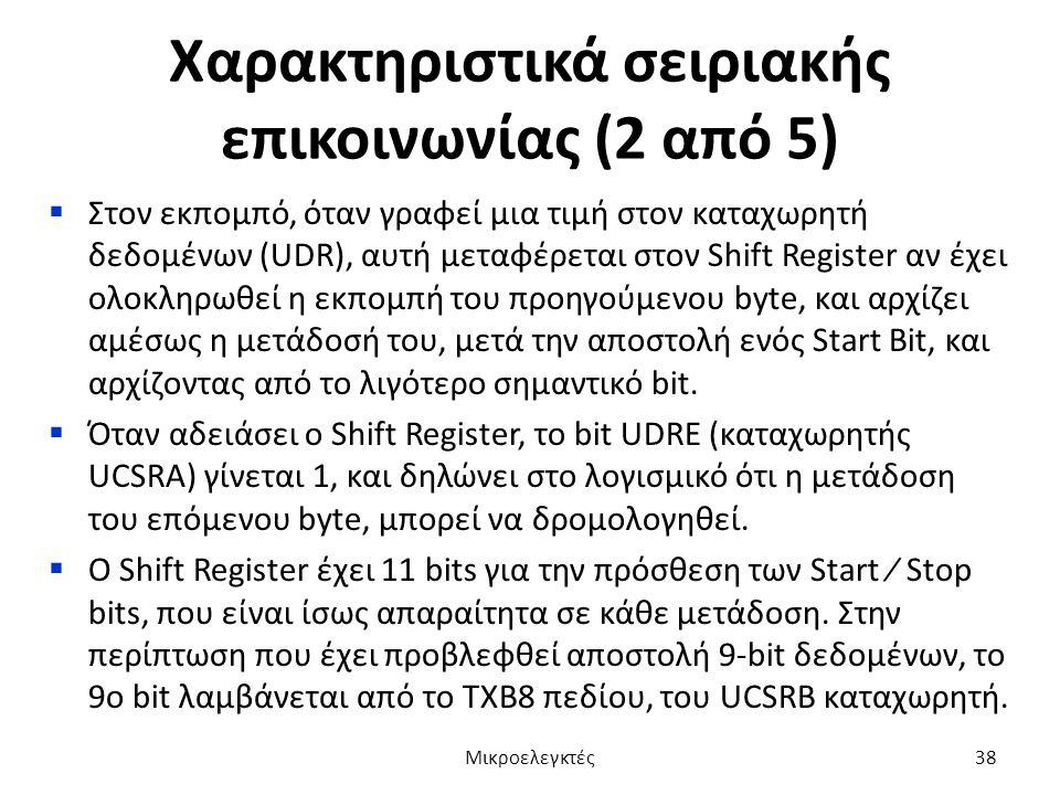 Χαρακτηριστικά σειριακής επικοινωνίας (2 από 5)  Στον εκπομπό, όταν γραφεί μια τιμή στον καταχωρητή δεδομένων (UDR), αυτή μεταφέρεται στον Shift Regi