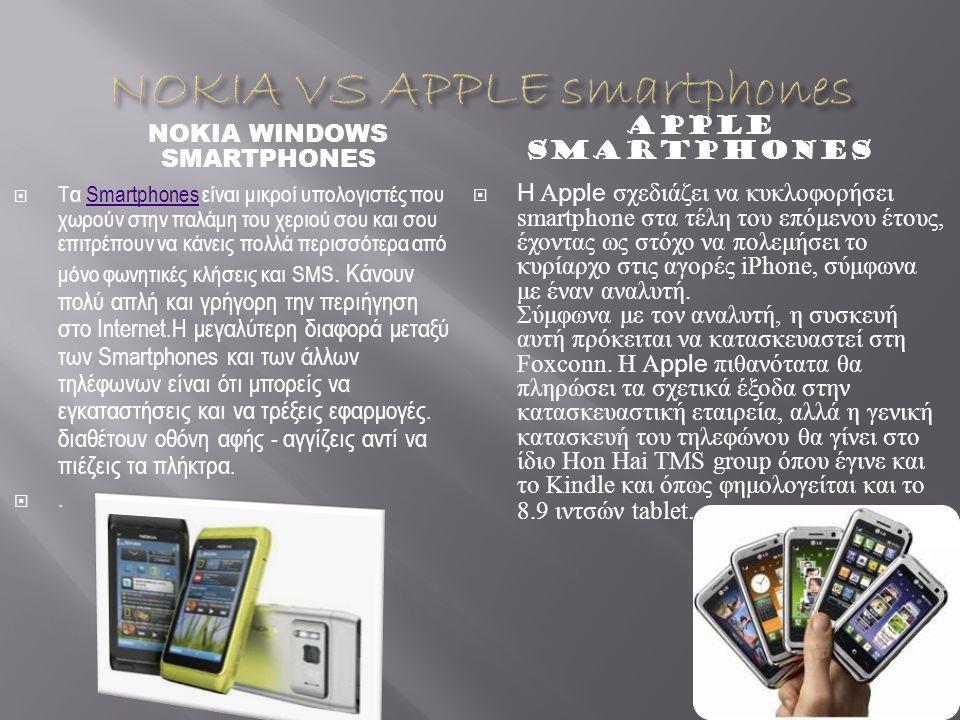 NOKIA WINDOWS SMARTPHONES APPLE SMARTPHONES  Τα Smartphones είναι μικροί υπολογιστές που χωρούν στην παλάμη του χεριού σου και σου επιτρέπουν να κάνεις πολλά περισσότερα από μόνο φωνητικές κλήσεις και SMS.