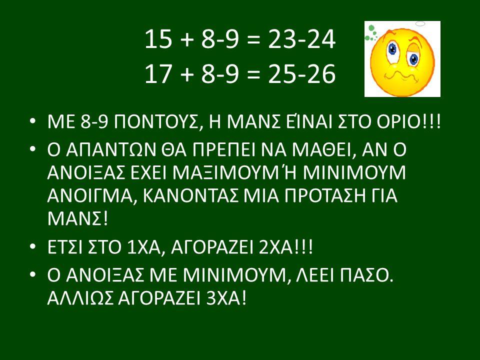 15 + 8-9 = 23-24 17 + 8-9 = 25-26 ΜΕ 8-9 ΠΟΝΤΟΥΣ, Η ΜΑΝΣ ΕΊΝΑΙ ΣΤΟ ΟΡΙΟ!!.