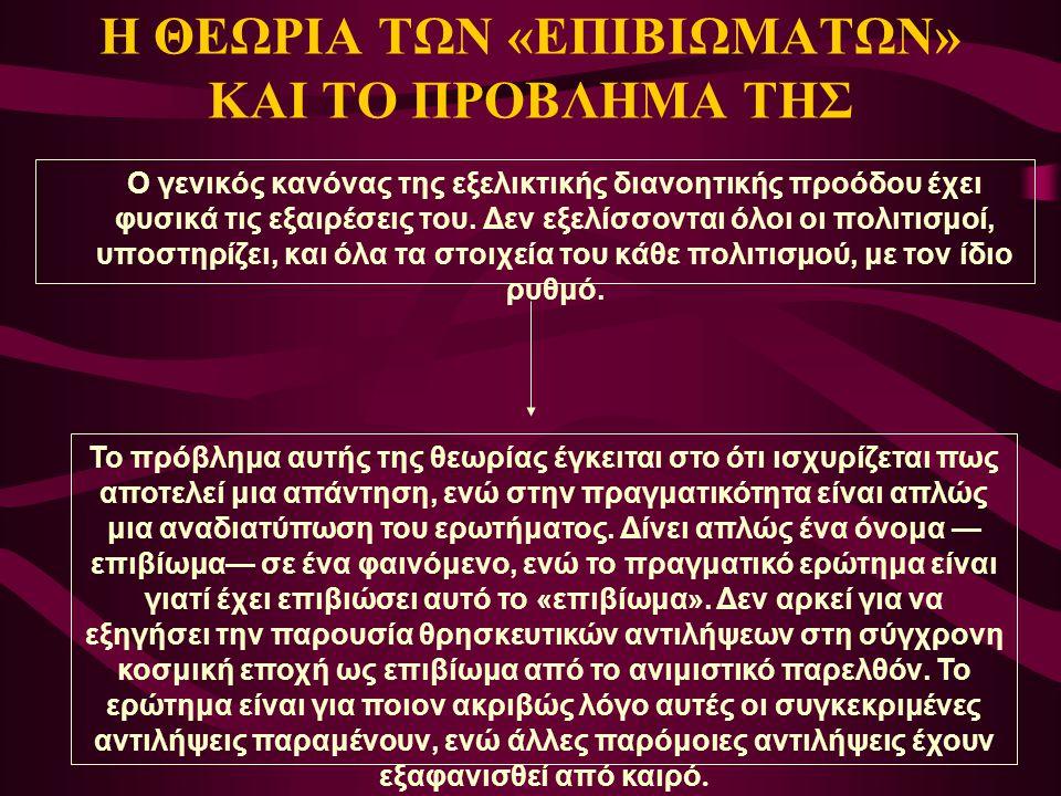 Η ΘΕΩΡΙΑ ΤΩΝ «ΕΠΙΒΙΩΜΑΤΩΝ» ΚΑΙ ΤΟ ΠΡΟΒΛΗΜΑ ΤΗΣ Ο γενικός κανόνας της εξελικτικής διανοητικής προόδου έχει φυσικά τις εξαιρέσεις του. Δεν εξελίσσονται