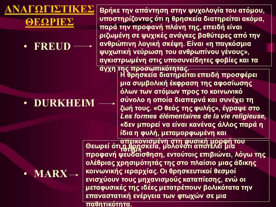 ΑΝΑΓΩΓΙΣΤΙΚΕΣ ΘΕΩΡΙΕΣ FREUD DURKHEIM MARX Βρήκε την απάντηση στην ψυχολογία του ατόμου, υποστηρίζοντας ότι η θρησκεία διατηρείται ακόμα, παρά την προφ