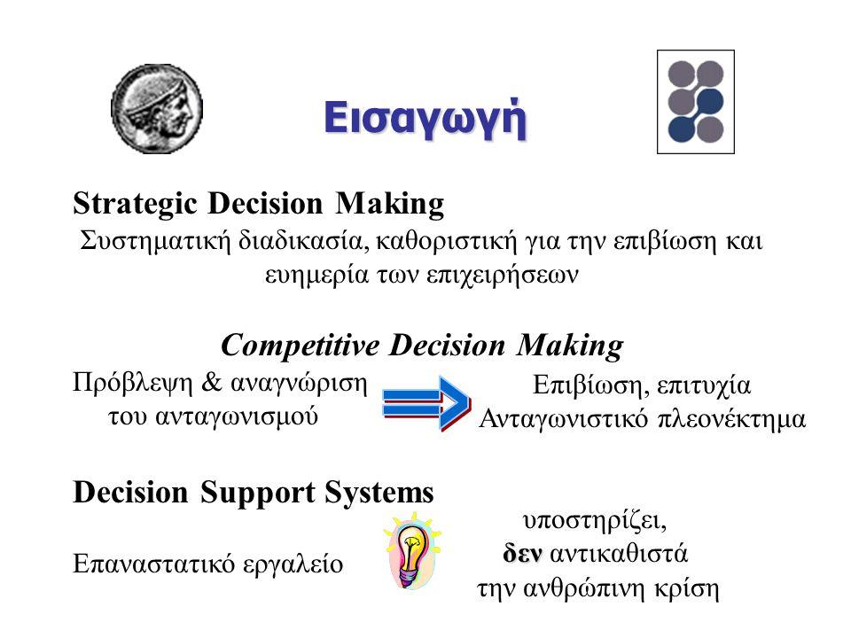 Εισαγωγή Strategic Decision Making Συστηματική διαδικασία, καθοριστική για την επιβίωση και ευημερία των επιχειρήσεων Competitive Decision Making Πρόβλεψη & αναγνώριση του ανταγωνισμού Decision Support Systems Επαναστατικό εργαλείο Επιβίωση, επιτυχία Ανταγωνιστικό πλεονέκτημα υποστηρίζει, δεν δεν αντικαθιστά την ανθρώπινη κρίση