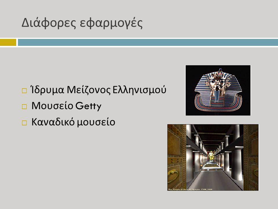 Διάφορες εφαρμογές  Ίδρυμα Μείζονος Ελληνισμού  Μουσείο Getty  Καναδικό μουσείο