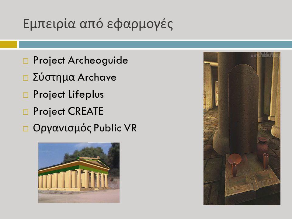 Εμπειρία από εφαρμογές  Project Archeoguide  Σύστημα Archave  Project Lifeplus  Project CREATE  Οργανισμός Public VR