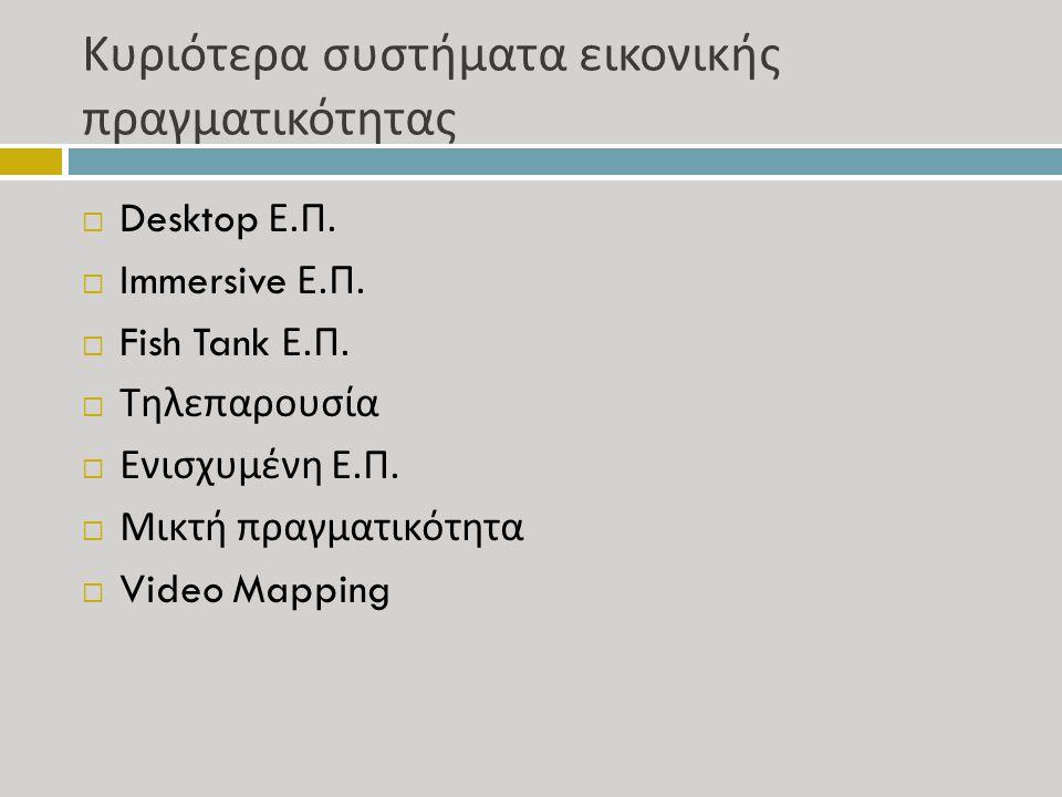 Κυριότερα συστήματα εικονικής πραγματικότητας  Desktop Ε. Π.  Immersive Ε. Π.  Fish Tank Ε. Π.  Τηλεπαρουσία  Ενισχυμένη Ε. Π.  Μικτή πραγματικό