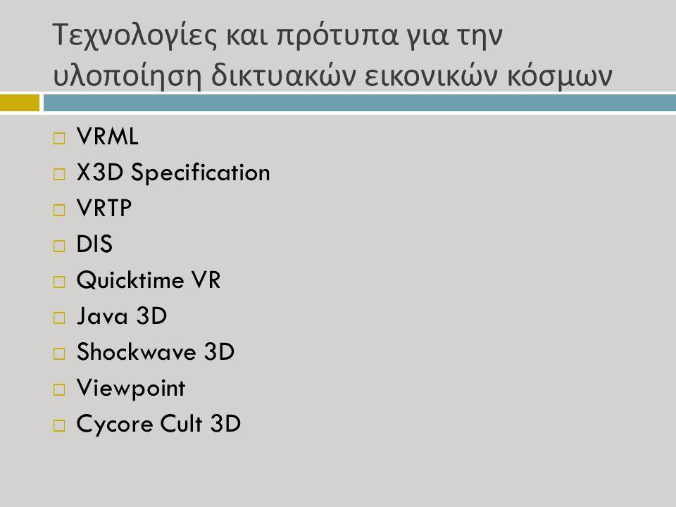 Τεχνολογίες και πρότυπα για την υλοποίηση δικτυακών εικονικών κόσμων  VRML  X3D Specification  VRTP  DIS  Quicktime VR  Java 3D  Shockwave 3D  Viewpoint  Cycore Cult 3D