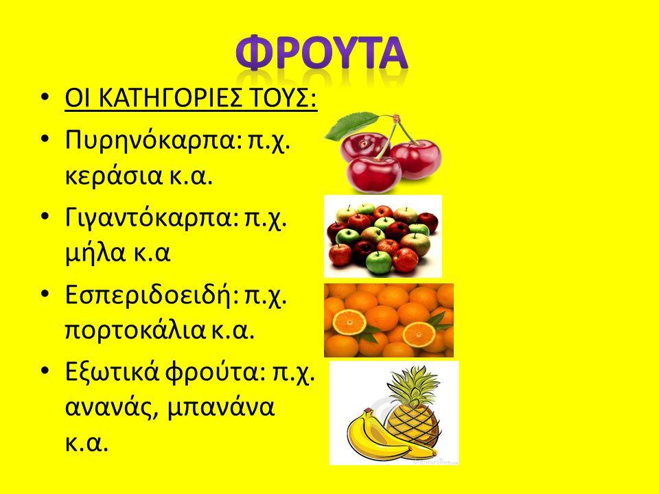 ΟΙ ΚΑΤΗΓΟΡΙΕΣ ΤΟΥΣ: Πυρηνόκαρπα: π.χ. κεράσια κ.α. Γιγαντόκαρπα: π.χ. μήλα κ.α Εσπεριδοειδή: π.χ. πορτοκάλια κ.α. Εξωτικά φρούτα: π.χ. ανανάς, μπανάνα