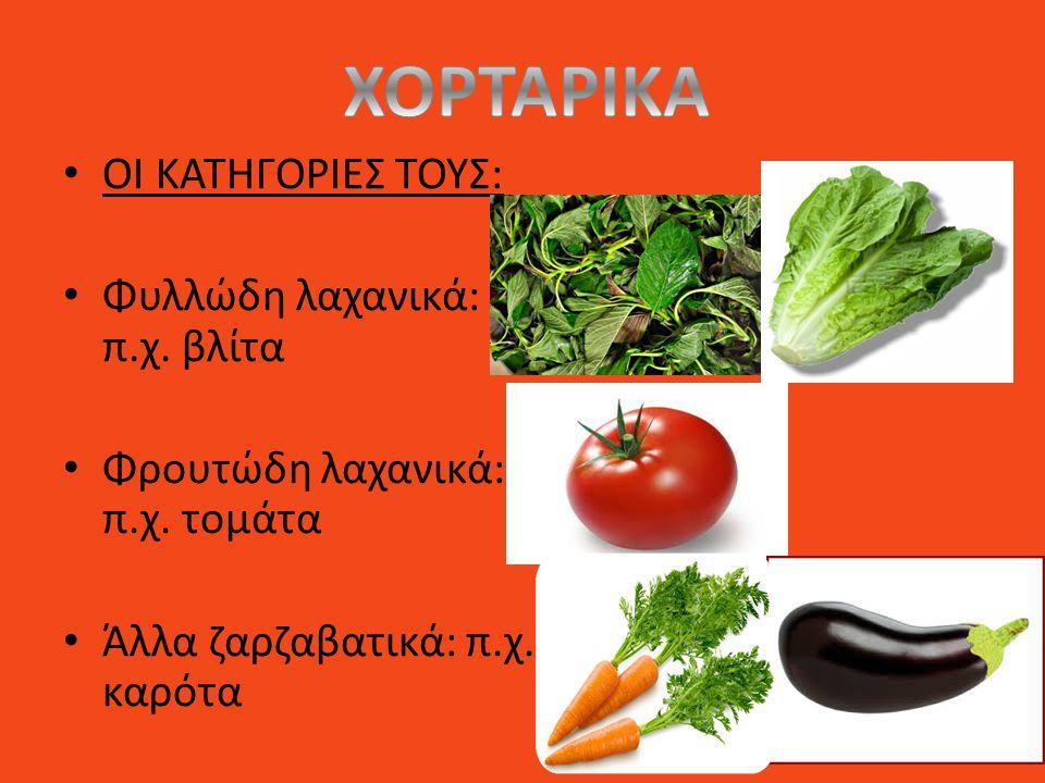 ΟΙ ΚΑΤΗΓΟΡΙΕΣ ΤΟΥΣ: Φυλλώδη λαχανικά: π.χ. βλίτα Φρουτώδη λαχανικά: π.χ. τομάτα Άλλα ζαρζαβατικά: π.χ. καρότα
