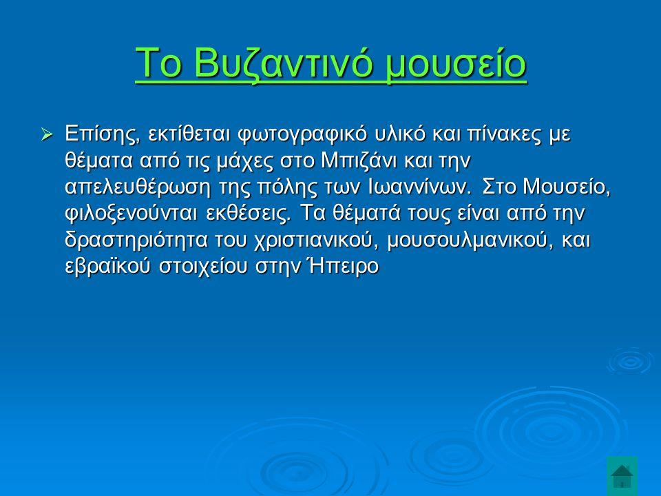 Το Βυζαντινό μουσείο  Επίσης, εκτίθεται φωτογραφικό υλικό και πίνακες με θέματα από τις μάχες στο Μπιζάνι και την απελευθέρωση της πόλης των Ιωαννίνων.