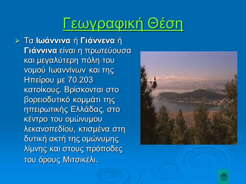 Γεωγραφική Θέση  Τα Ιωάννινα ή Γιάννενα ή Γιάννινα είναι η πρωτεύουσα και μεγαλύτερη πόλη του νομού Ιωαννίνων και της Ηπείρου με 70.203 κατοίκους.
