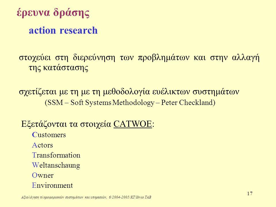 Αξιολόγηση πληροφοριακών συστημάτων και υπηρεσιών, 6/2004-2005/ΚΤ/Ιόνιο ΤΑΒ 17 έρευνα δράσης action research στοχεύει στη διερεύνηση των προβλημάτων και στην αλλαγή της κατάστασης σχετίζεται με τη με τη μεθοδολογία ευέλικτων συστημάτων (SSM – Soft Systems Methodology – Peter Checkland) Εξετάζονται τα στοιχεία CATWOE: Customers Actors Transformation Weltanschaung Owner Environment