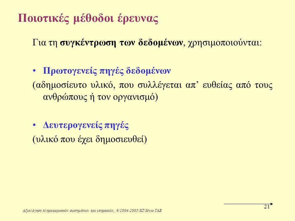 Αξιολόγηση πληροφοριακών συστημάτων και υπηρεσιών, 6/2004-2005/ΚΤ/Ιόνιο ΤΑΒ 21 Ποιοτικές μέθοδοι έρευνας Για τη συγκέντρωση των δεδομένων, χρησιμοποιούνται: Πρωτογενείς πηγές δεδομένων (αδημοσίευτο υλικό, που συλλέγεται απ' ευθείας από τους ανθρώπους ή τον οργανισμό) Δευτερογενείς πηγές (υλικό που έχει δημοσιευθεί)