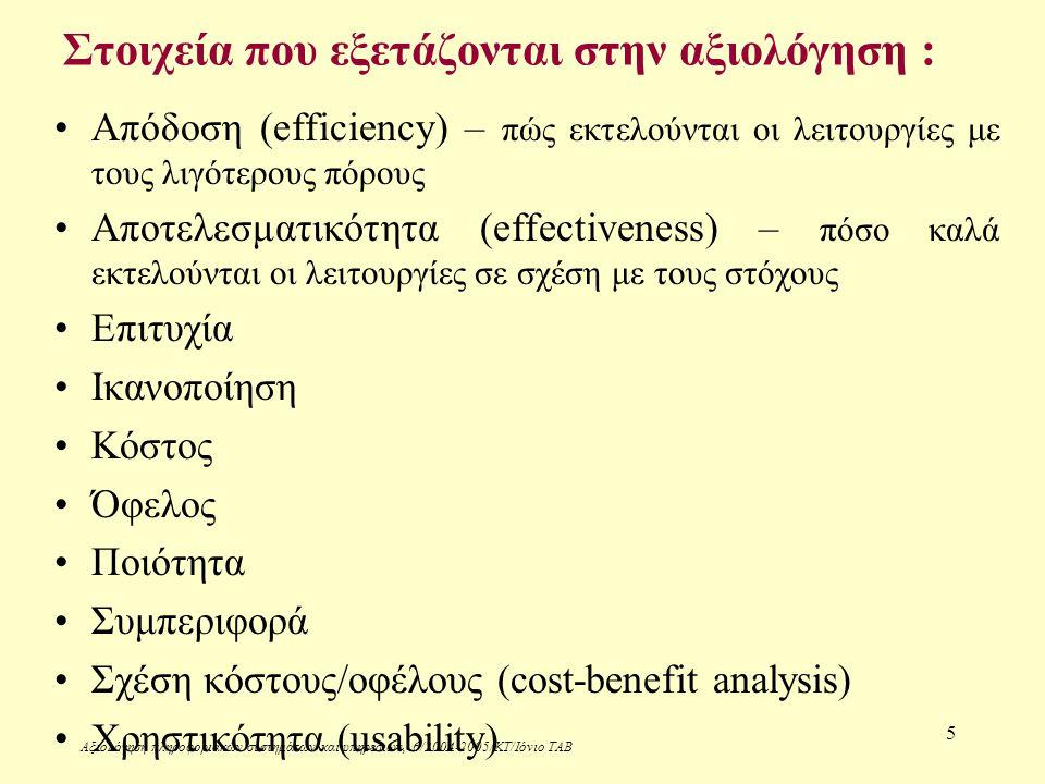 Αξιολόγηση πληροφοριακών συστημάτων και υπηρεσιών, 6/2004-2005/ΚΤ/Ιόνιο ΤΑΒ 5 Στοιχεία που εξετάζονται στην αξιολόγηση : Απόδοση (efficiency) – πώς εκτελούνται οι λειτουργίες με τους λιγότερους πόρους Αποτελεσματικότητα (effectiveness) – πόσο καλά εκτελούνται οι λειτουργίες σε σχέση με τους στόχους Επιτυχία Ικανοποίηση Κόστος Όφελος Ποιότητα Συμπεριφορά Σχέση κόστους/οφέλους (cost-benefit analysis) Χρηστικότητα (usability)