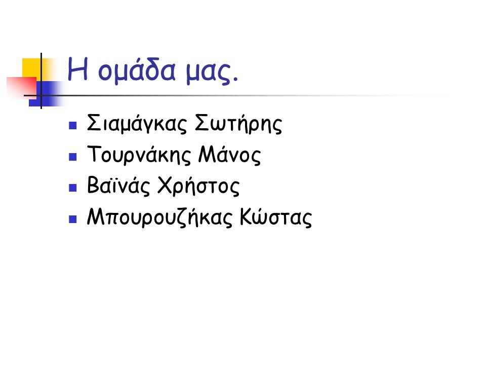 Η ομάδα μας. Σιαμάγκας Σωτήρης Τουρνάκης Μάνος Βαϊνάς Χρήστος Μπουρουζήκας Κώστας