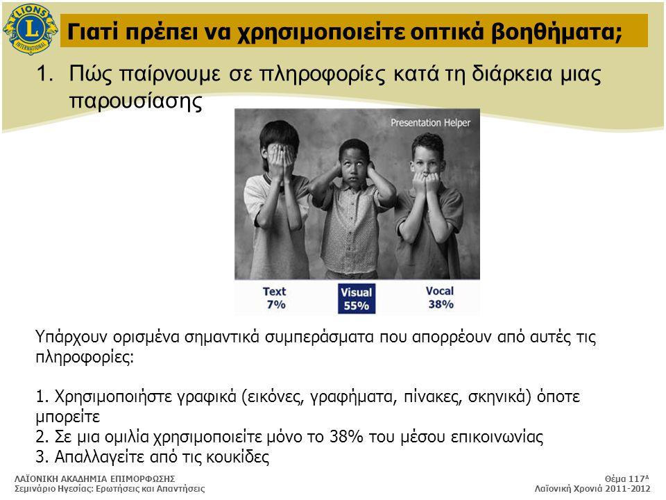 ΛΑΪΟΝΙΚΗ ΑΚΑΔΗΜΙΑ ΕΠΙΜΟΡΦΩΣΗΣ Θέμα 117 Α Σεμινάριο Ηγεσίας: Ερωτήσεις και Απαντήσεις Λαϊονική Χρονιά 2011-2012 Γιατί πρέπει να χρησιμοποιείτε οπτικά βοηθήματα; 1.Πώς παίρνουμε σε πληροφορίες κατά τη διάρκεια μιας παρουσίασης Υπάρχουν ορισμένα σημαντικά συμπεράσματα που απορρέουν από αυτές τις πληροφορίες: 1.