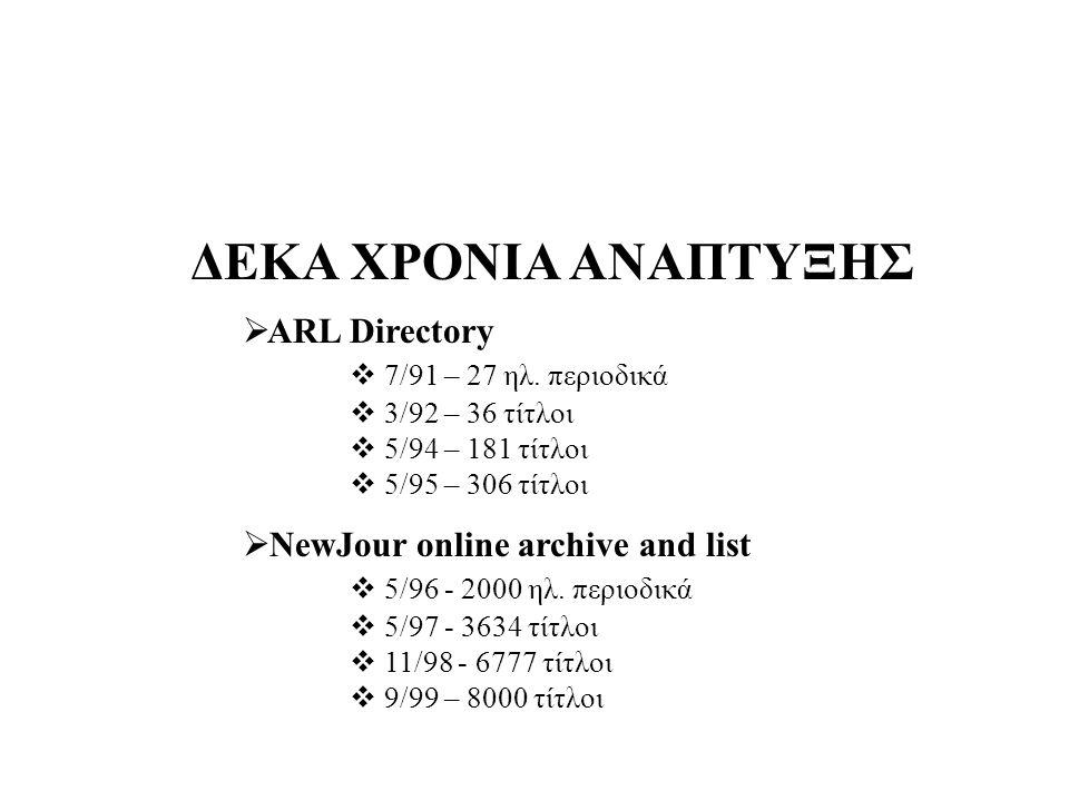ΔΕΚΑ ΧΡΟΝΙΑ ΑΝΑΠΤΥΞΗΣ  ARL Directory  7/91 – 27 ηλ.