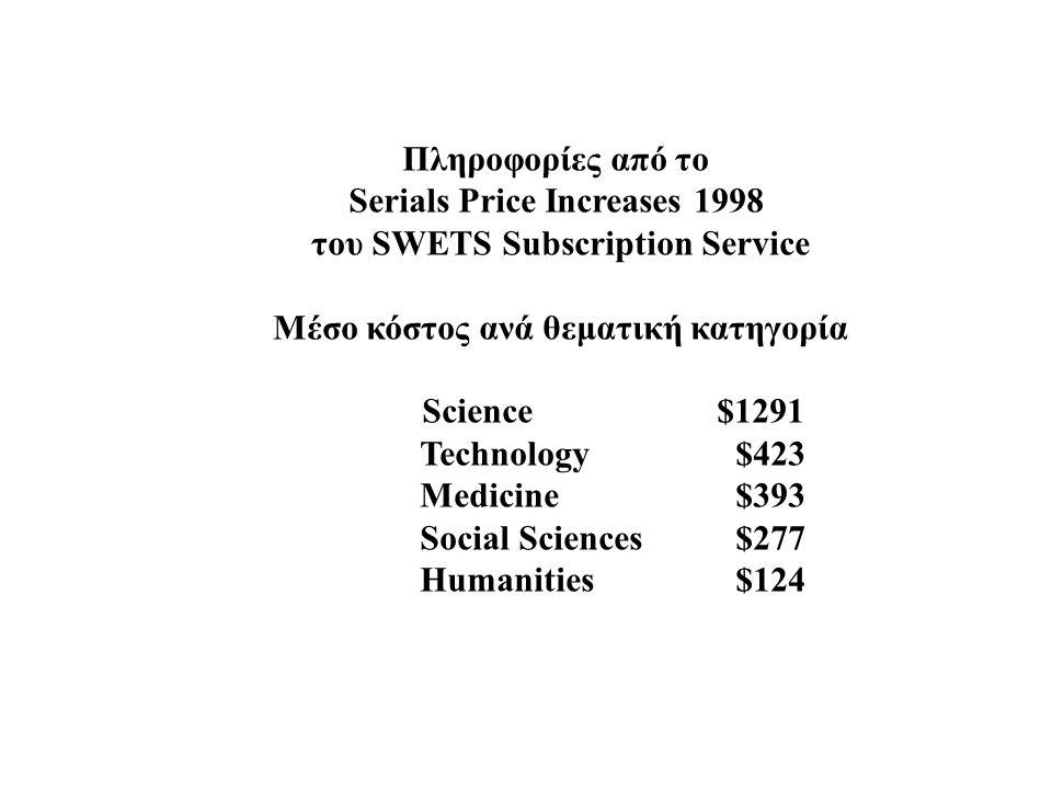 Πληροφορίες από το Serials Price Increases 1998 του SWETS Subscription Service Μέσο κόστος ανά θεματική κατηγορία Science $1291 Technology $423 Medicine $393 Social Sciences $277 Ηumanities $124