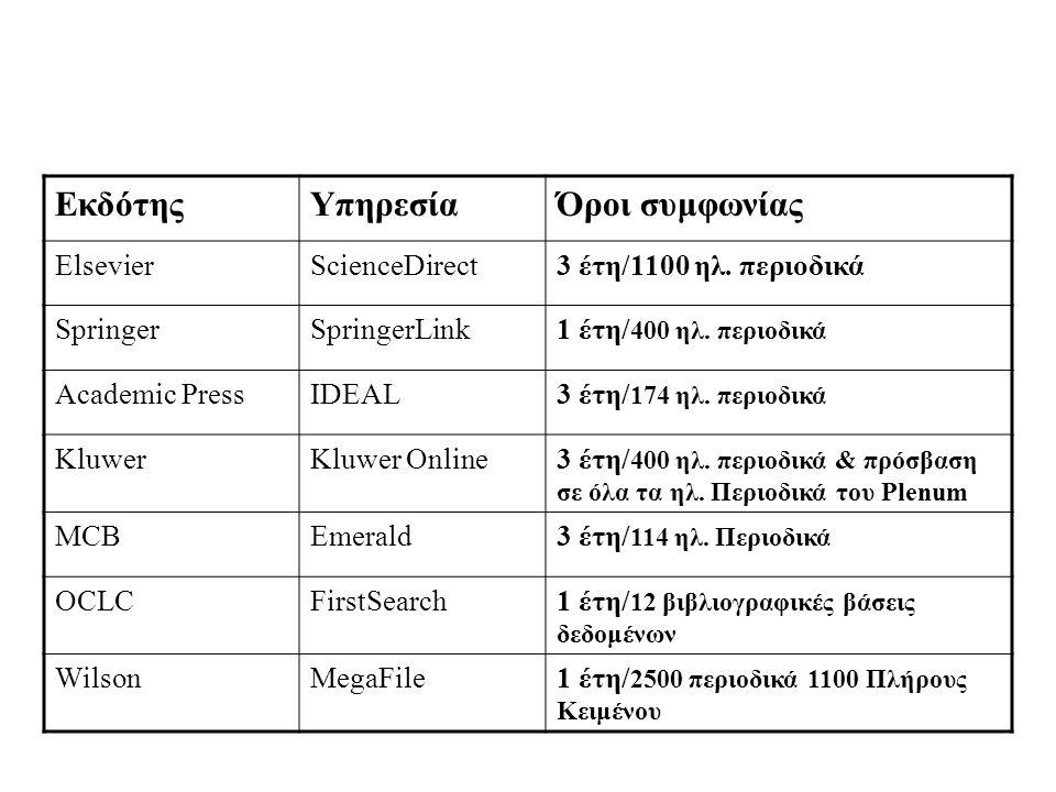 ΕκδότηςΥπηρεσίαΌροι συμφωνίας ElsevierScienceDirect3 έτη/1100 ηλ.