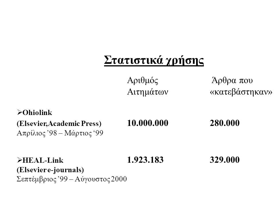 Αριθμός Άρθρα που Αιτημάτων «κατεβάστηκαν»  Ohiolink (Elsevier,Academic Press) 10.000.000280.000 Απρίλιος '98 – Μάρτιος '99  HEAL-Link 1.923.183329.000 (Elsevier e-journals) Σεπτέμβριος '99 – Αύγουστος 2000 Στατιστικά χρήσης