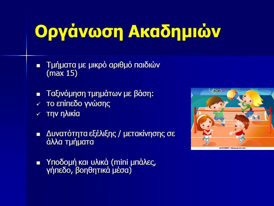 Οργάνωση Ακαδημιών Τμήματα με μικρό αριθμό παιδιών (max 15) Τμήματα με μικρό αριθμό παιδιών (max 15) Ταξινόμηση τμημάτων με βάση: Ταξινόμηση τμημάτων