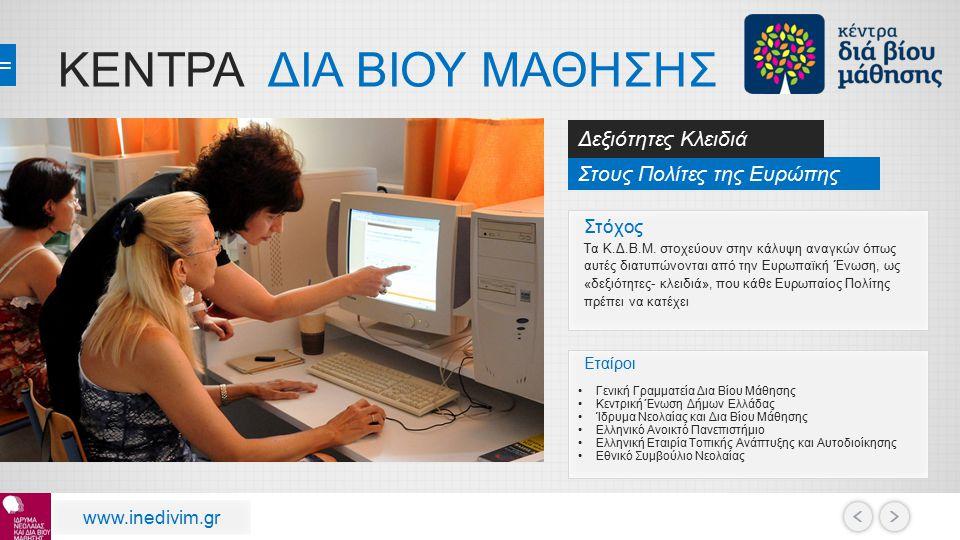 ΚΕΝΤΡΑ ΔΙΑ ΒΙΟΥ ΜΑΘΗΣΗΣ Στους Πολίτες της Ευρώπης Δεξιότητες Κλειδιά www.inedivim.gr