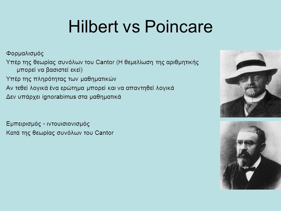 Hilbert vs Poincare Φορμαλισμός Υπέρ της θεωρίας συνόλων του Cantor (Η θεμελίωση της αριθμητικής μπορεί να βασιστεί εκεί) Υπέρ της πληρότητας των μαθη