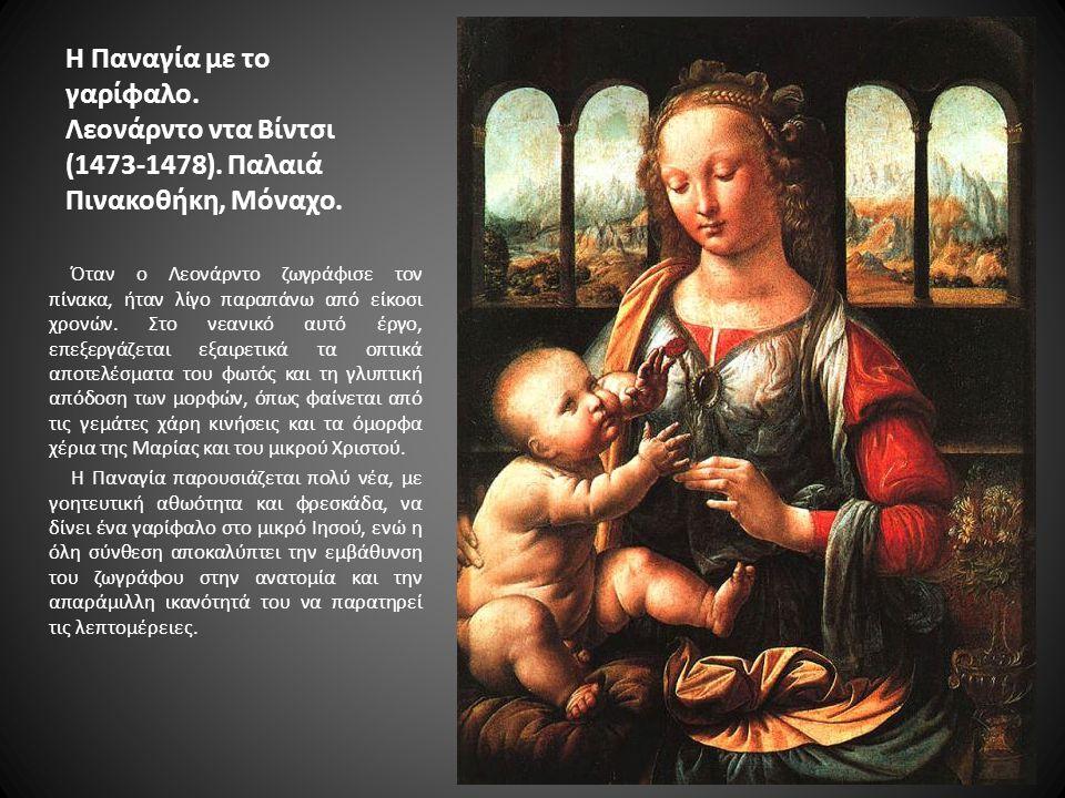 Η Παναγία με το γαρίφαλο. Λεονάρντο ντα Βίντσι (1473-1478). Παλαιά Πινακοθήκη, Μόναχο. Όταν ο Λεονάρντο ζωγράφισε τον πίνακα, ήταν λίγο παραπάνω από ε