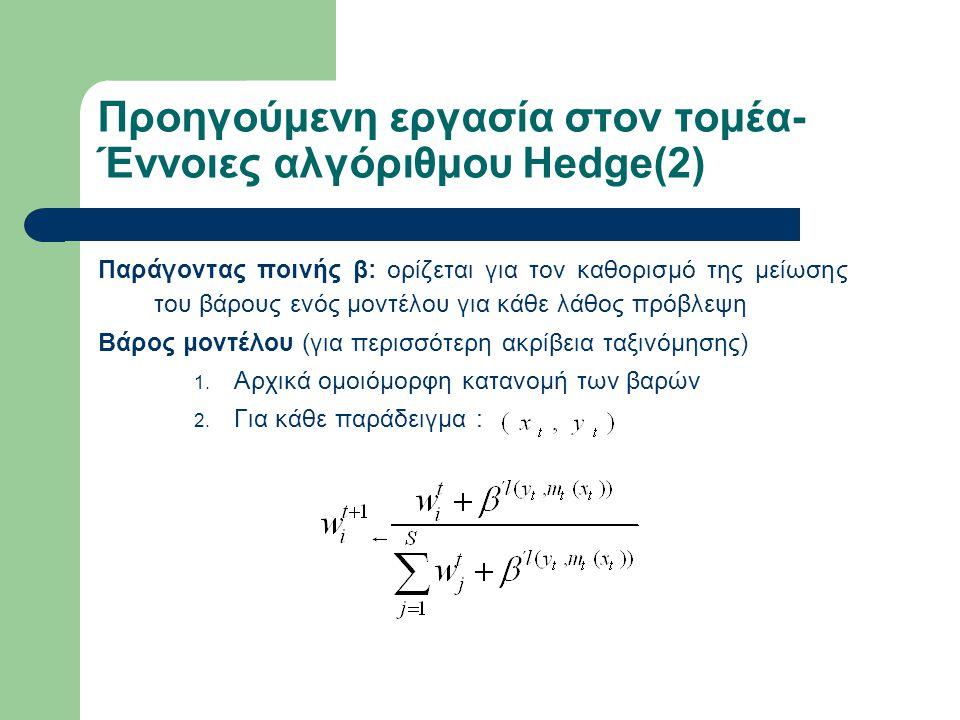 Ενεργή επιλογή αλγορίθμου – Min-Max πλαίσιο Εκτέλεση των δοθέντων αλγορίθμων πάνω σε σύνολο παραδειγμάτων D -> Μ={Μ 1,Μ 2,…, Μ s } Σε κάθε επανάληψη επιλέγεται για ταξινόμηση x που μεγιστοποιεί τη συνάρτηση απώλειας βάρους: Το βάρος ενός μοντέλου μπορεί να θεωρηθεί η πιθανότητα να επιλεγεί.