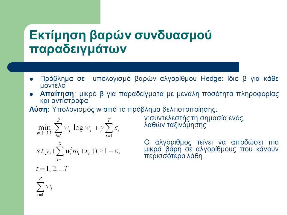 Πειραματική αξιολόγηση(1) Τα πειράματα αφορούσαν τους εξής τομείς: – ανίχνευση φαρμάκων – προώθηση προϊόντων – αναγνώριση ψηφίων Χρησιμοποιήθηκαν 10 διαφορετικοί αλγόριθμοι Για κάθε σύνολο δεδομένων μοναδικός βέλτιστος σημαντικά καλύτερος αλγόριθμος από τους υπόλοιπους.