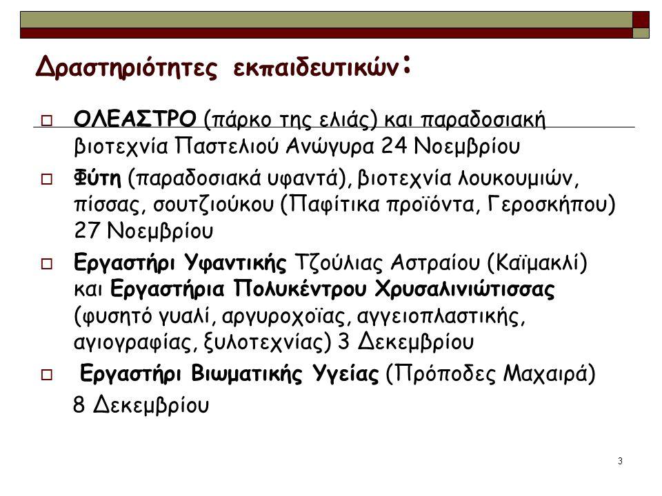 3 Δραστηριότητες εκπαιδευτικών :  ΟΛΕΑΣΤΡΟ (πάρκο της ελιάς) και παραδοσιακή βιοτεχνία Παστελιού Ανώγυρα 24 Νοεμβρίου  Φύτη (παραδοσιακά υφαντά), βιοτεχνία λουκουμιών, πίσσας, σουτζιούκου (Παφίτικα προϊόντα, Γεροσκήπου) 27 Νοεμβρίου  Εργαστήρι Υφαντικής Τζούλιας Αστραίου (Καϊμακλί) και Εργαστήρια Πολυκέντρου Χρυσαλινιώτισσας (φυσητό γυαλί, αργυροχοϊας, αγγειοπλαστικής, αγιογραφίας, ξυλοτεχνίας) 3 Δεκεμβρίου  Εργαστήρι Βιωματικής Υγείας (Πρόποδες Μαχαιρά) 8 Δεκεμβρίου