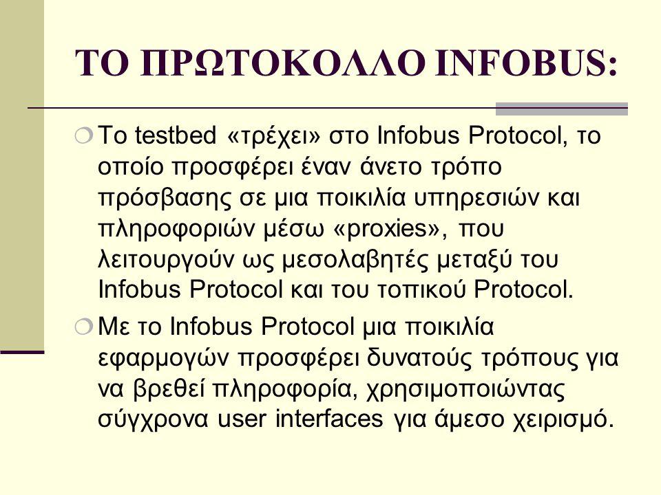 ΤΟ ΠΡΩΤΟΚΟΛΛΟ INFOBUS:  Το testbed «τρέχει» στο Infobus Protocol, το οποίο προσφέρει έναν άνετο τρόπο πρόσβασης σε μια ποικιλία υπηρεσιών και πληροφοριών μέσω «proxies», που λειτουργούν ως μεσολαβητές μεταξύ του Infobus Protocol και του τοπικού Protocol.