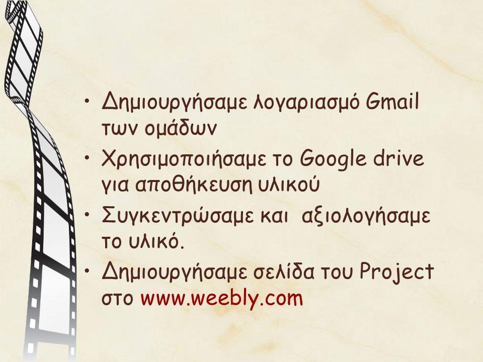 Δημιουργήσαμε λογαριασμό Gmail των ομάδων Χρησιμοποιήσαμε το Google drive για αποθήκευση υλικού Συγκεντρώσαμε και αξιολογήσαμε το υλικό.