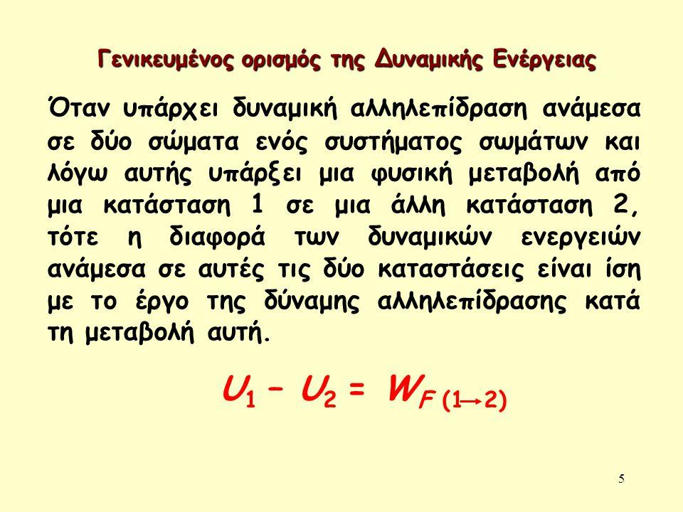 5 Γενικευμένος ορισμός της Δυναμικής Ενέργειας Όταν υπάρχει δυναμική αλληλεπίδραση ανάμεσα σε δύο σώματα ενός συστήματος σωμάτων και λόγω αυτής υπάρξε