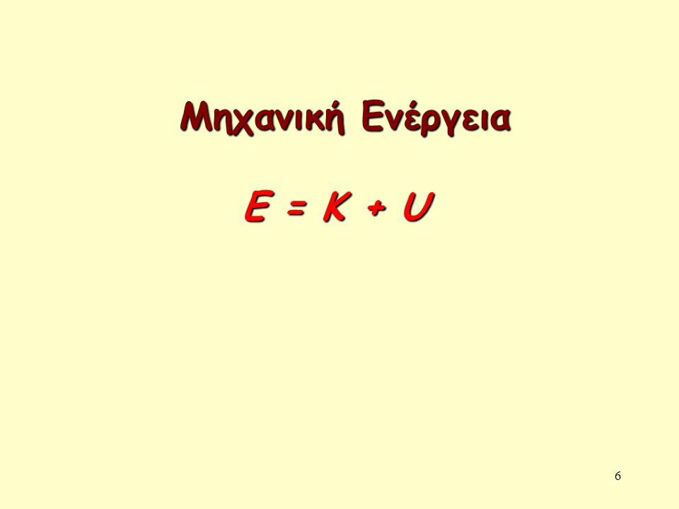 6 Μηχανική Ενέργεια Ε = Κ + U