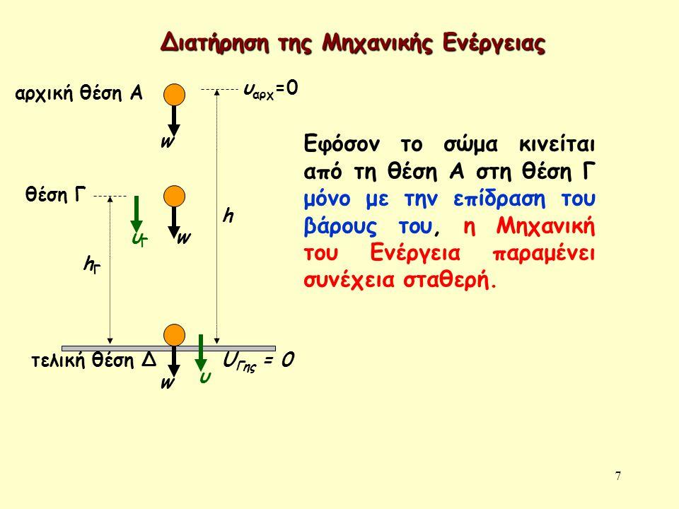7 αρχική θέση A w τελική θέση Δ h υ αρχ =0 w w hΓhΓ υΓυΓ θέση Γ υ U Γης = 0 Εφόσον το σώμα κινείται από τη θέση Α στη θέση Γ μόνο με την επίδραση του