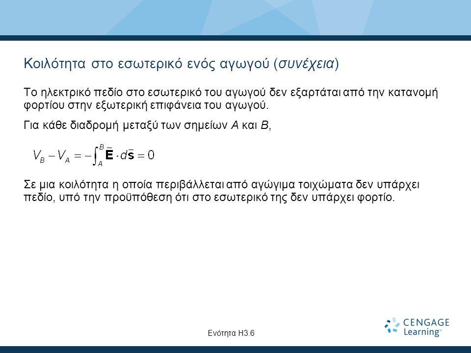 Κοιλότητα στο εσωτερικό ενός αγωγού (συνέχεια) Το ηλεκτρικό πεδίο στο εσωτερικό του αγωγού δεν εξαρτάται από την κατανομή φορτίου στην εξωτερική επιφά
