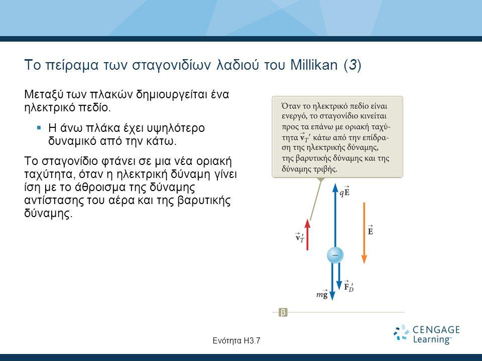 Το πείραμα των σταγονιδίων λαδιού του Millikan (3) Μεταξύ των πλακών δημιουργείται ένα ηλεκτρικό πεδίο.  Η άνω πλάκα έχει υψηλότερο δυναμικό από την