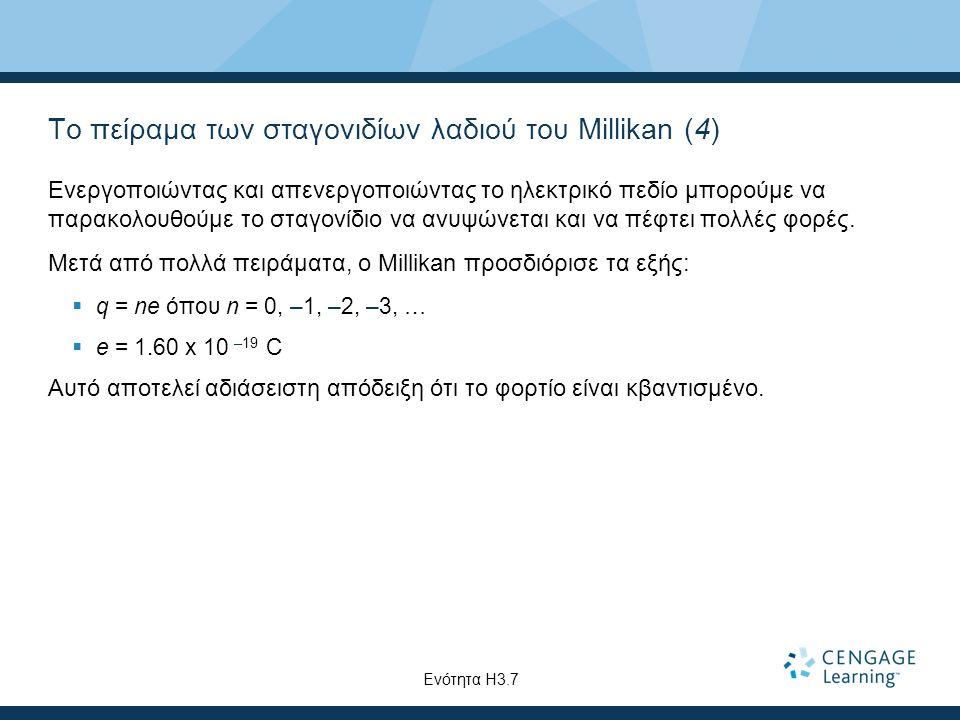 Το πείραμα των σταγονιδίων λαδιού του Millikan (4) Ενεργοποιώντας και απενεργοποιώντας το ηλεκτρικό πεδίο μπορούμε να παρακολουθούμε το σταγονίδιο να