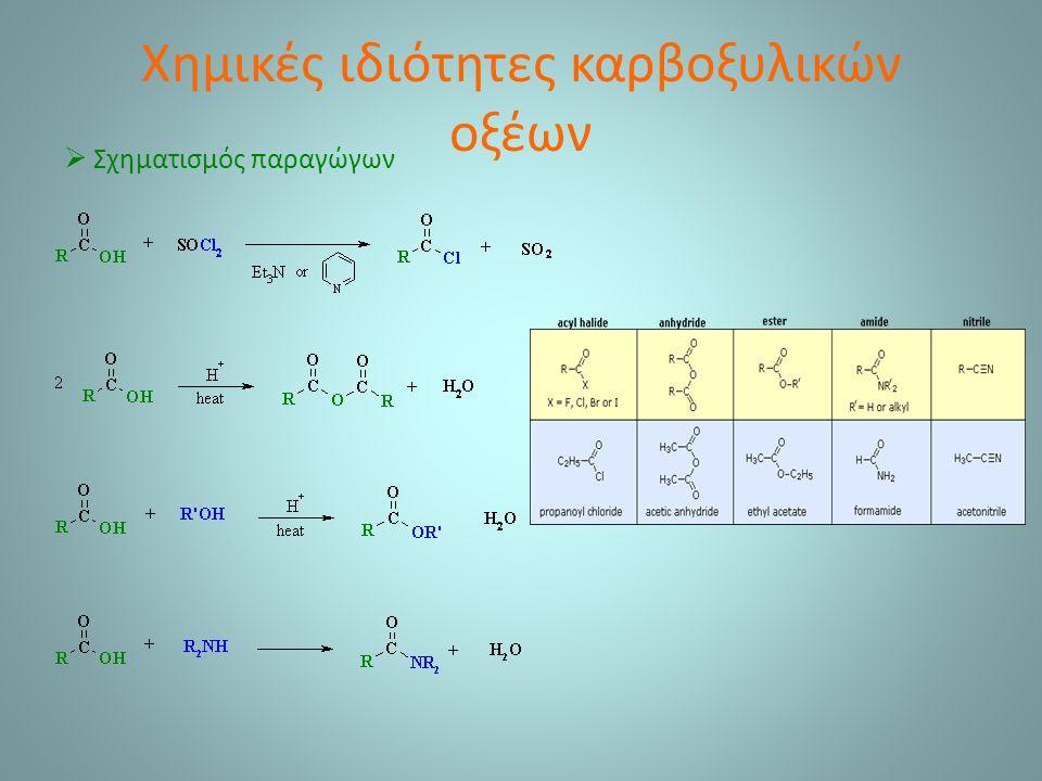 Χημικές ιδιότητες καρβοξυλικών οξέων  Σχηματισμός παραγώγων