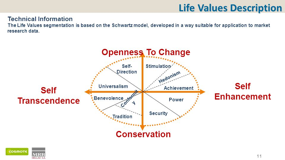 Life Values Description Technical Information The Life Values segmentation is based on the Schwartz model, developed in a way suitable for application